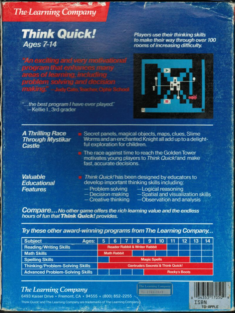 Think Quick! Apple II Back Cover