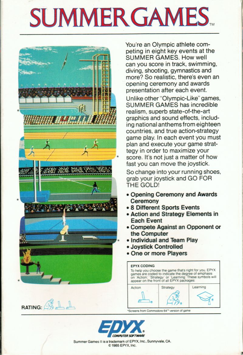 Summer Games Apple II Back Cover