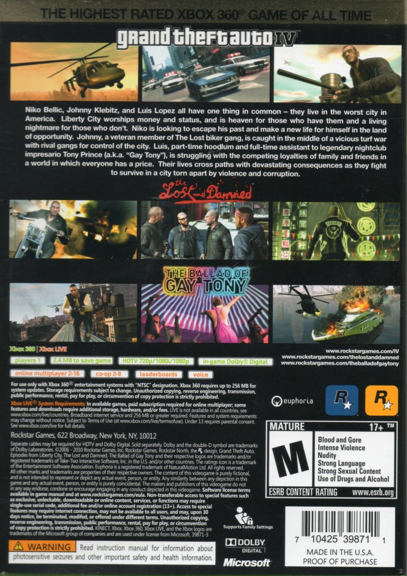 Grand Theft Auto IV (Complete Edition) Xbox 360 Back Cover