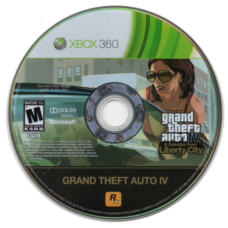 Grand Theft Auto IV (Complete Edition) Xbox 360 Media Game Disk.