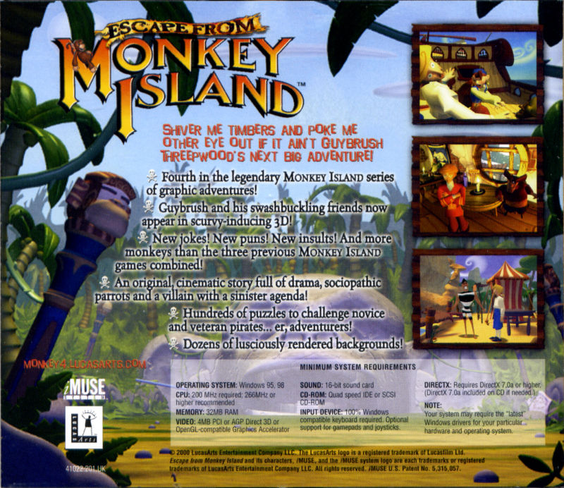 Escape from Monkey Island Windows Other Jewel Case - Back