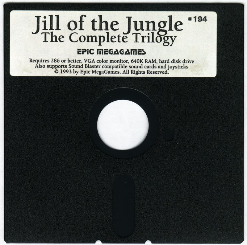 Jill of the Jungle: The Complete Trilogy DOS Media 5.25 Floppy Disk 1/1