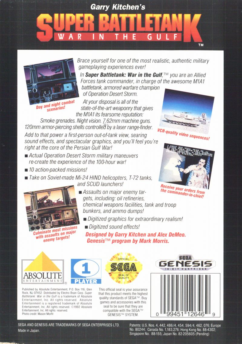 Super Battletank Genesis Back Cover