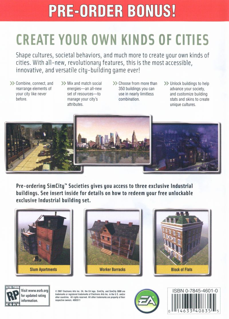 SimCity Societies Windows Back Cover