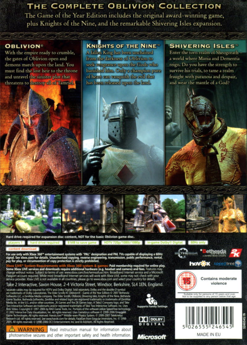 The Elder Scrolls IV: Oblivion - Game of the Year Edition Xbox 360 Back Cover