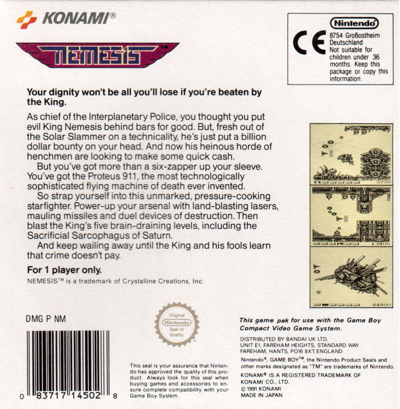 Nemesis Game Boy Back Cover