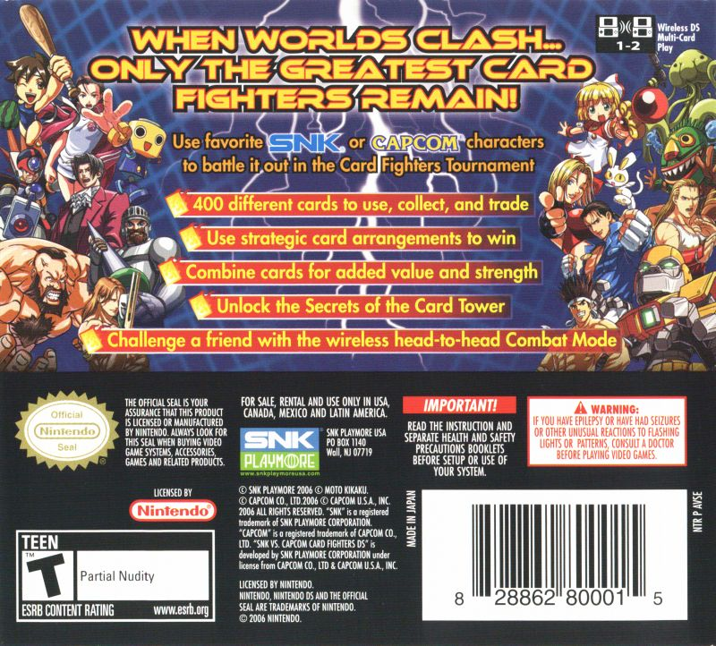 SNK VS. CAPCOM Card Fighters DS Nintendo DS Back Cover