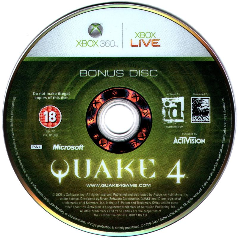 Quake 4 Xbox 360 Media Bonus Disc