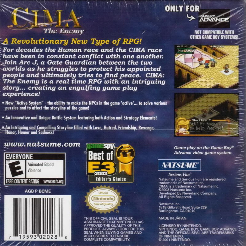 CIMA: The Enemy Game Boy Advance Back Cover