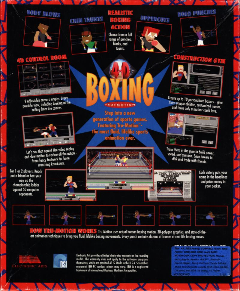 4-D Boxing DOS Back Cover