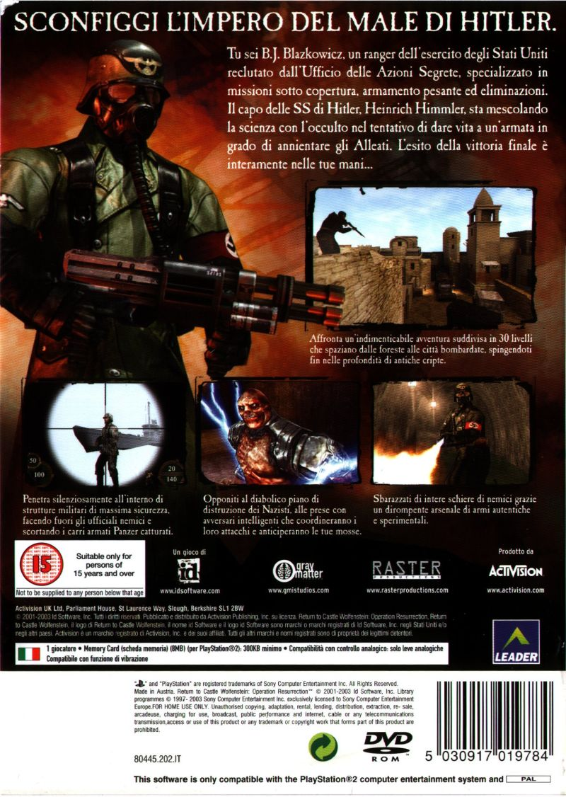 Return to Castle Wolfenstein: Operation Resurrection PlayStation 2 Back Cover