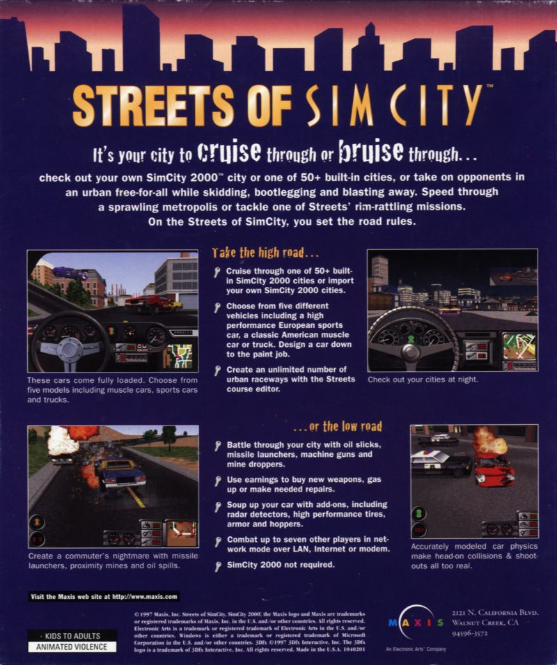 Streets of SimCity Windows Back Cover