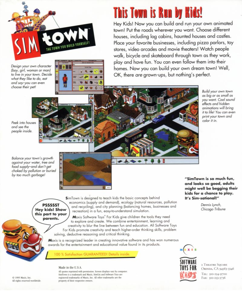SimTown Windows Back Cover