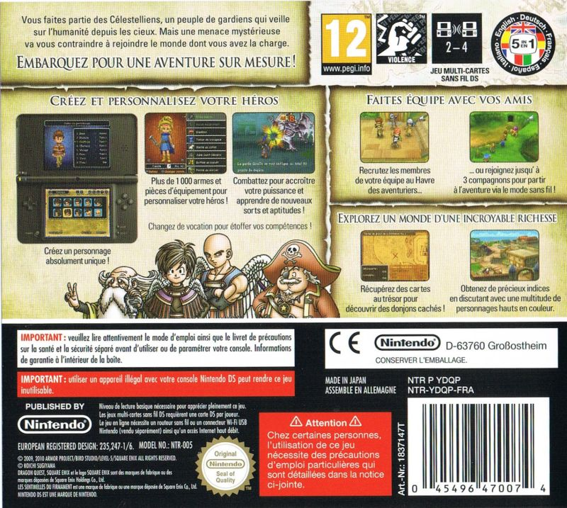Dragon Quest IX: Sentinels of the Starry Skies Nintendo DS Back Cover