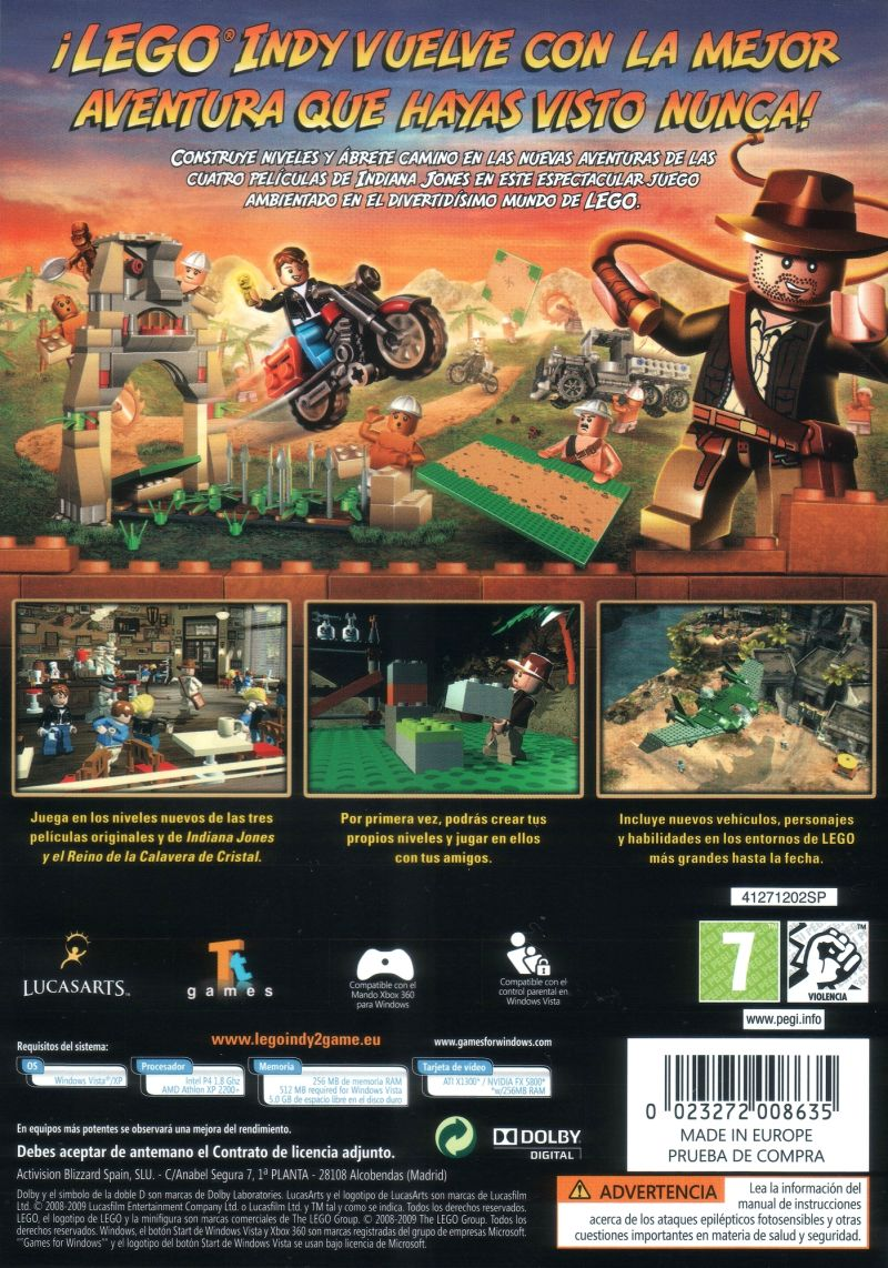 LEGO Indiana Jones 2: The Adventure Continues  Windows Back Cover