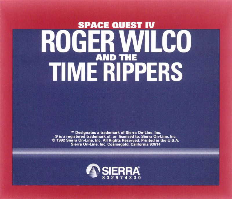 Space Quest IV: Roger Wilco and the Time Rippers DOS Other Jewel Case - Back