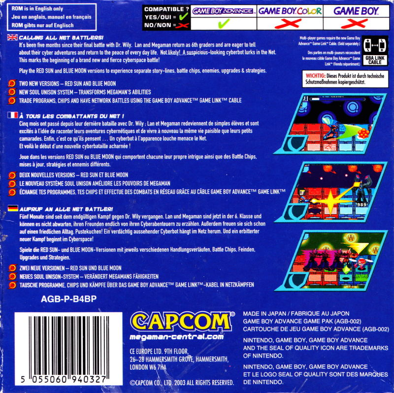 Mega Man Battle Network 4: Blue Moon Game Boy Advance Back Cover