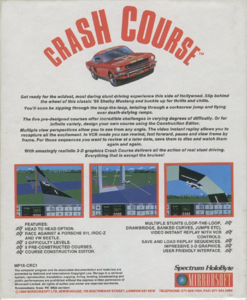 Stunt Driver DOS Back Cover