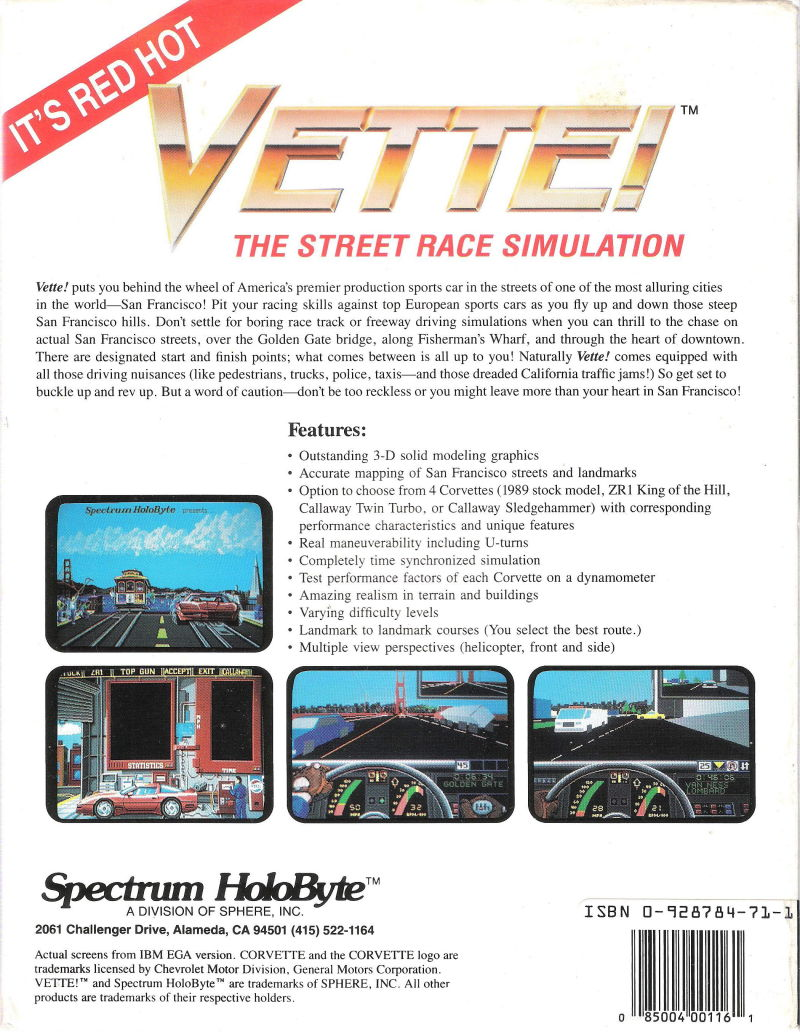 Vette! DOS Back Cover