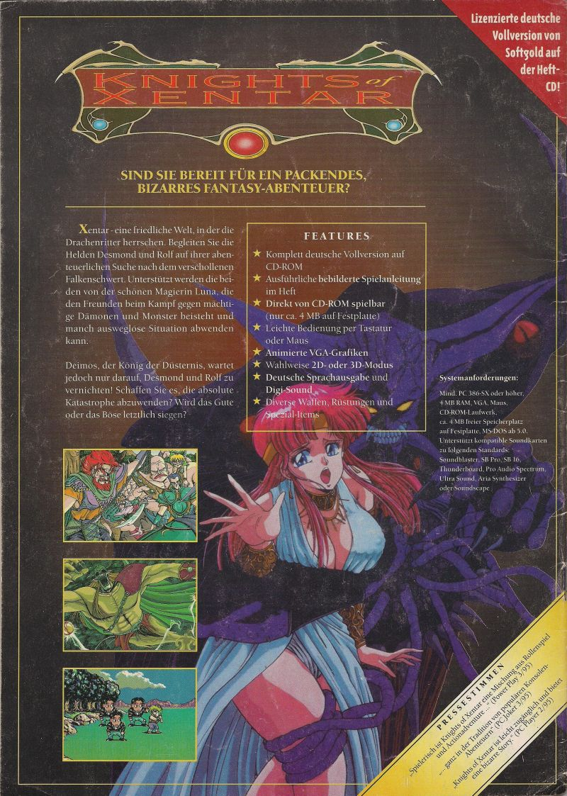 Knights of Xentar DOS Back Cover