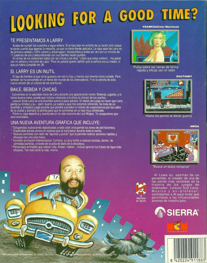 Leisure Suit Larry in the Land of the Lounge Lizards DOS Back Cover