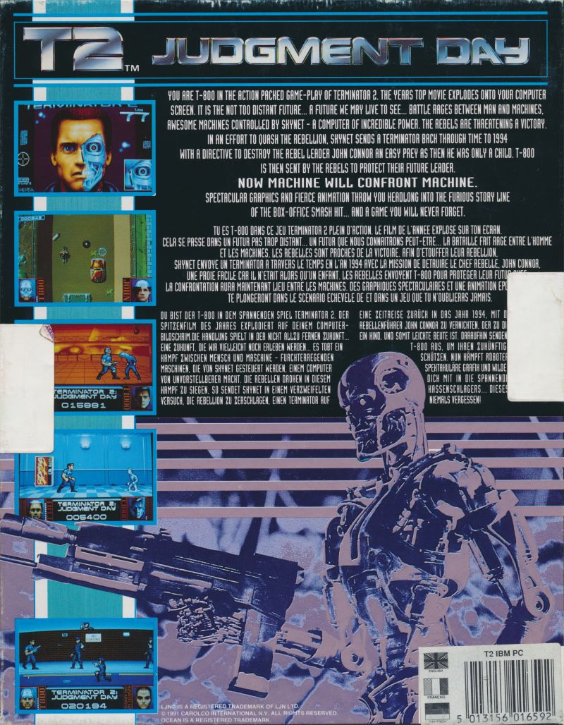 Terminator 2: Judgment Day DOS Back Cover