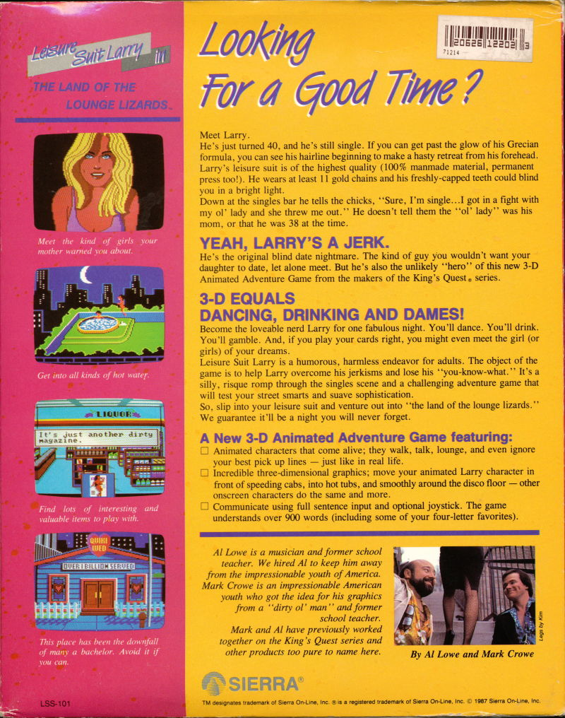 Leisure Suit Larry in the Land of the Lounge Lizards Apple IIgs Back Cover
