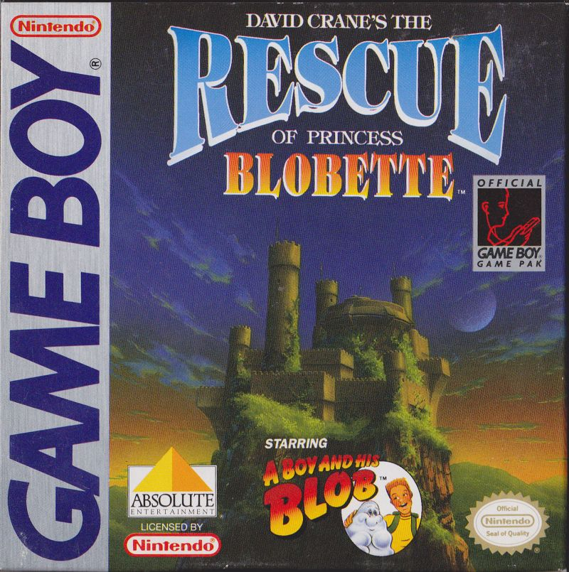 David Crane's The Rescue of Princess Blobette Starring A Boy and his Blob Game Boy Front Cover