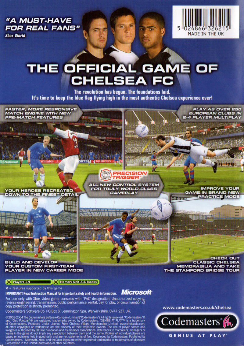 Club Football 2005 Xbox Back Cover