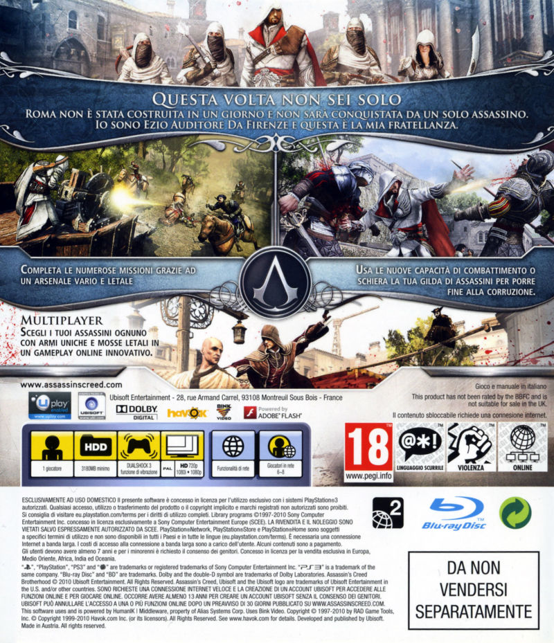 Assassin's Creed: Brotherhood (Codex Edition) PlayStation 3 Back Cover