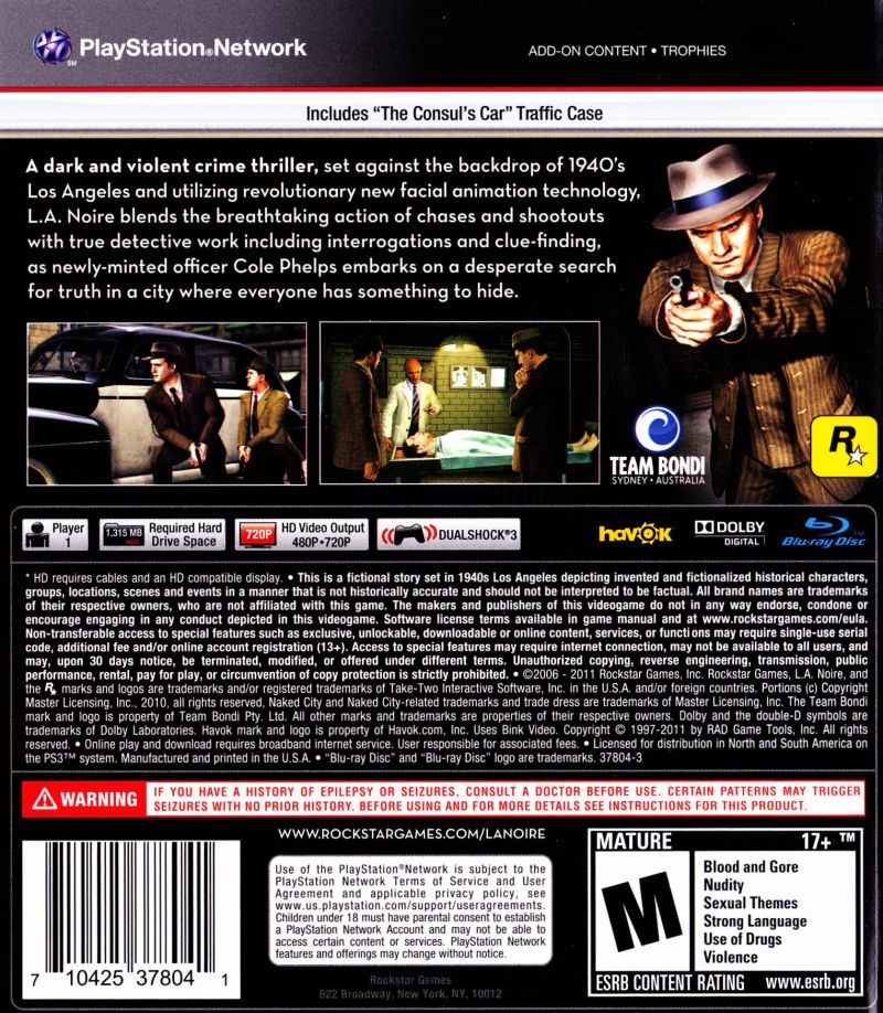 "L.A. Noire (Includes ""The Consul's Car"" Traffic Case) PlayStation 3 Back Cover"