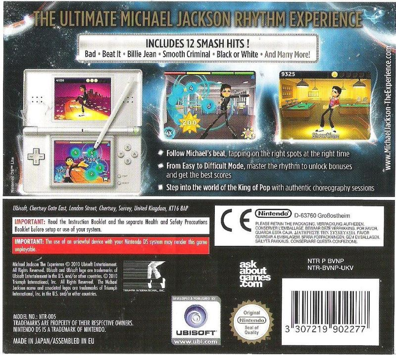 Michael Jackson: The Experience Nintendo DS Back Cover