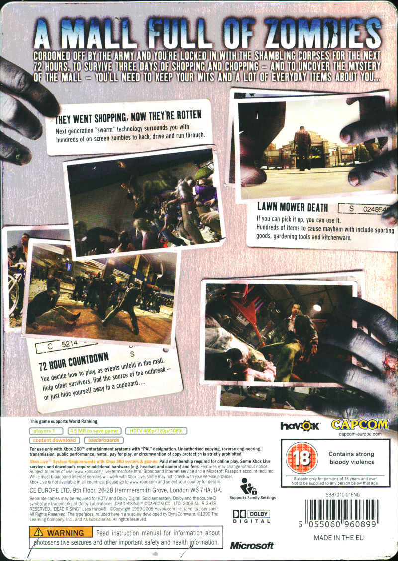 Dead Rising Xbox 360 Back Cover
