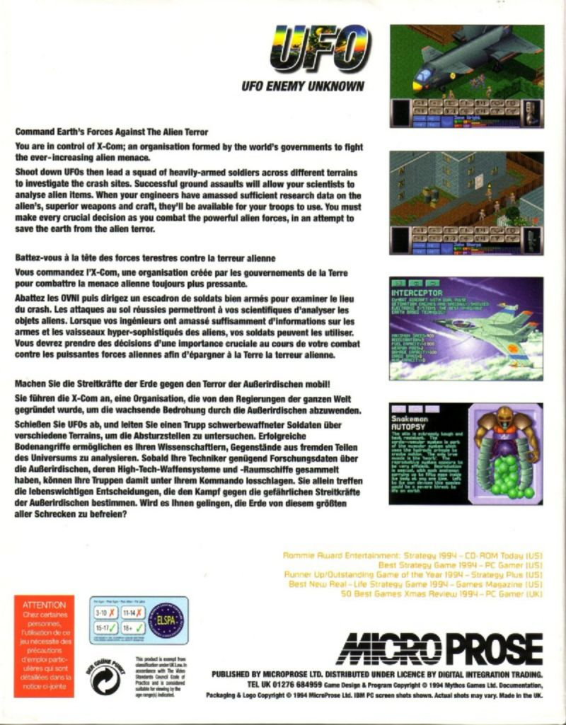 X-COM: UFO Defense DOS Back Cover