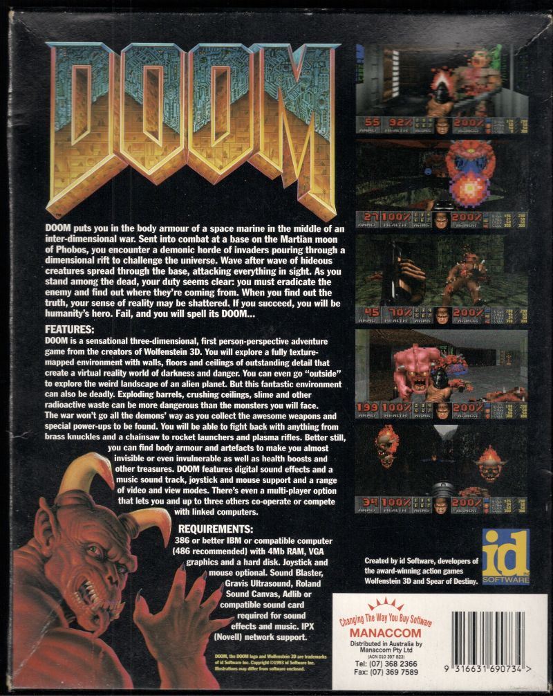 DOOM DOS Back Cover