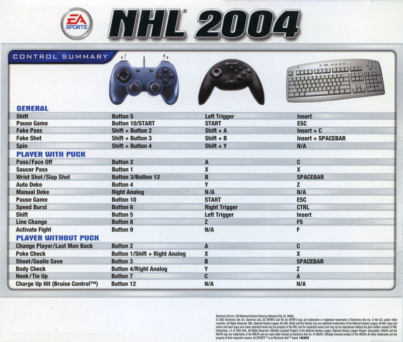 NHL 2004 Windows Other Jewel Case - Back