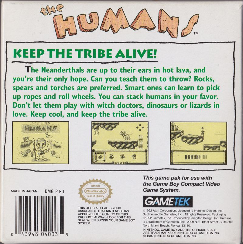 the humans game boy back cover