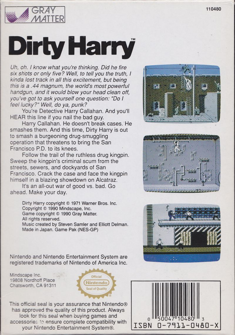 Dirty Harry NES Back Cover
