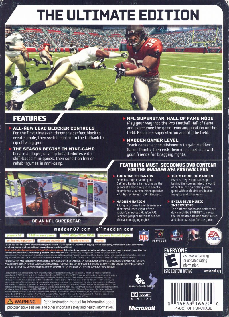 Madden NFL 07 (Hall of Fame Edition) Xbox 360 Back Cover
