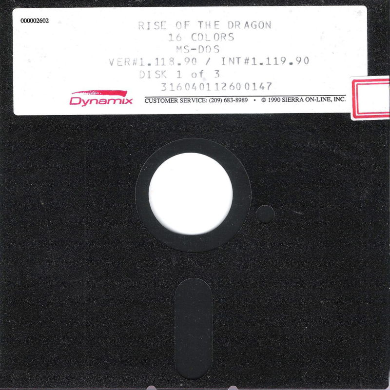 "Rise of the Dragon DOS Media 5.25"" Disk (1/3)"