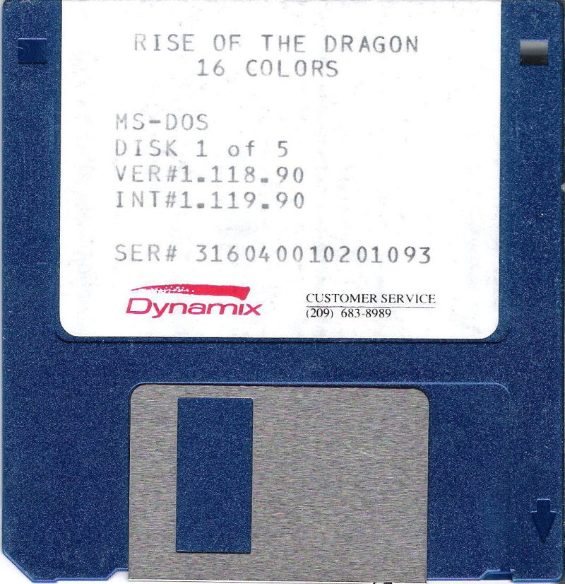 """Rise of the Dragon DOS Media 3.5"""" Disk (1/5)"""