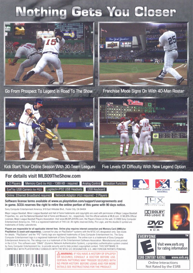 MLB 09: The Show PlayStation 2 Back Cover