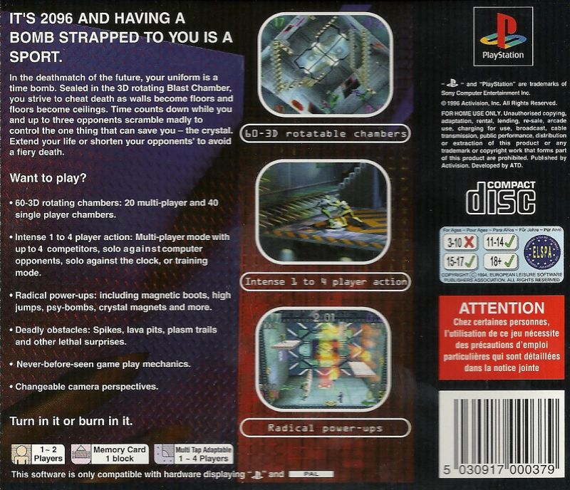 Blast Chamber PlayStation Back Cover
