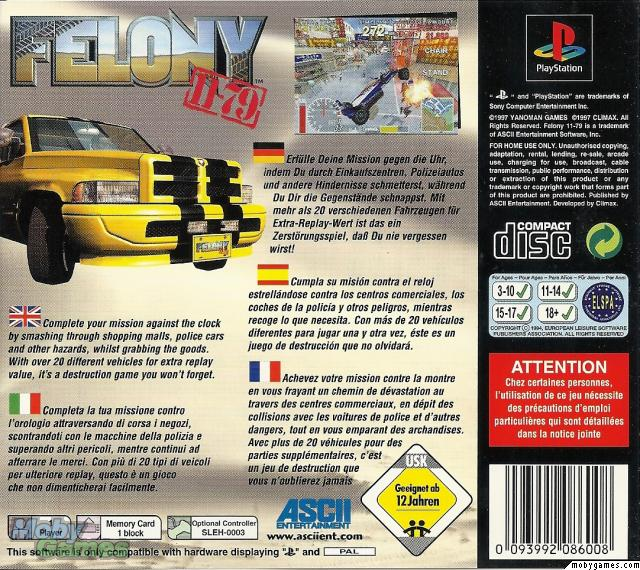 Felony 11-79 PlayStation Back Cover