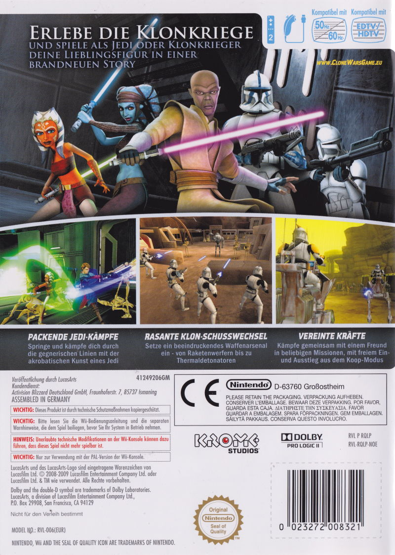 Star Wars: The Clone Wars - Republic Heroes Wii Back Cover