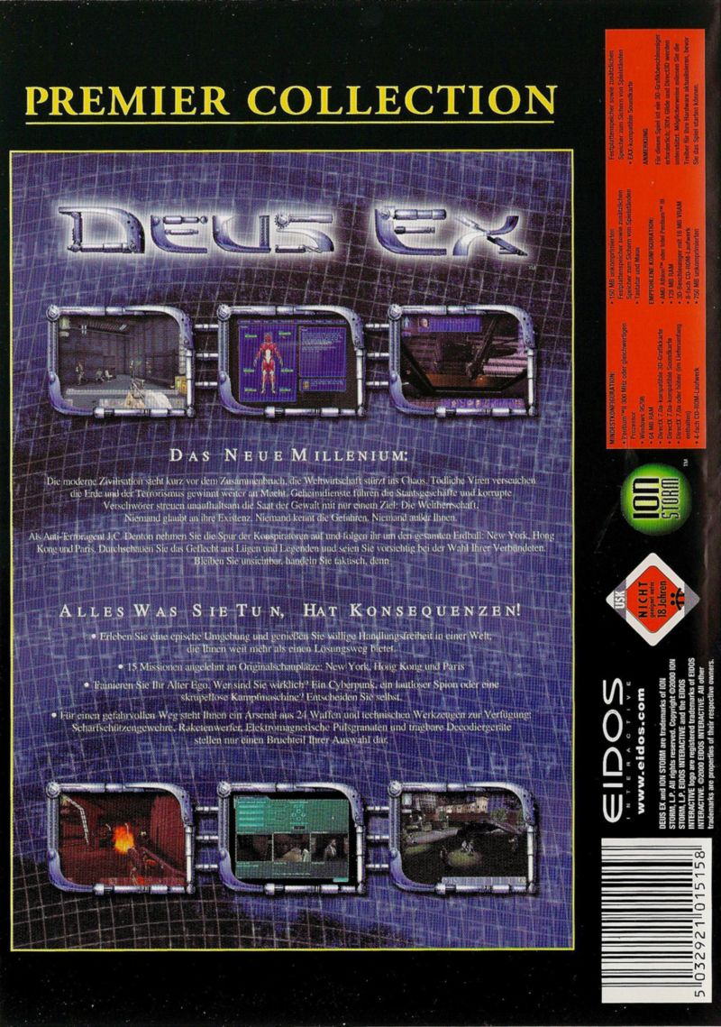 Deus Ex Windows Back Cover