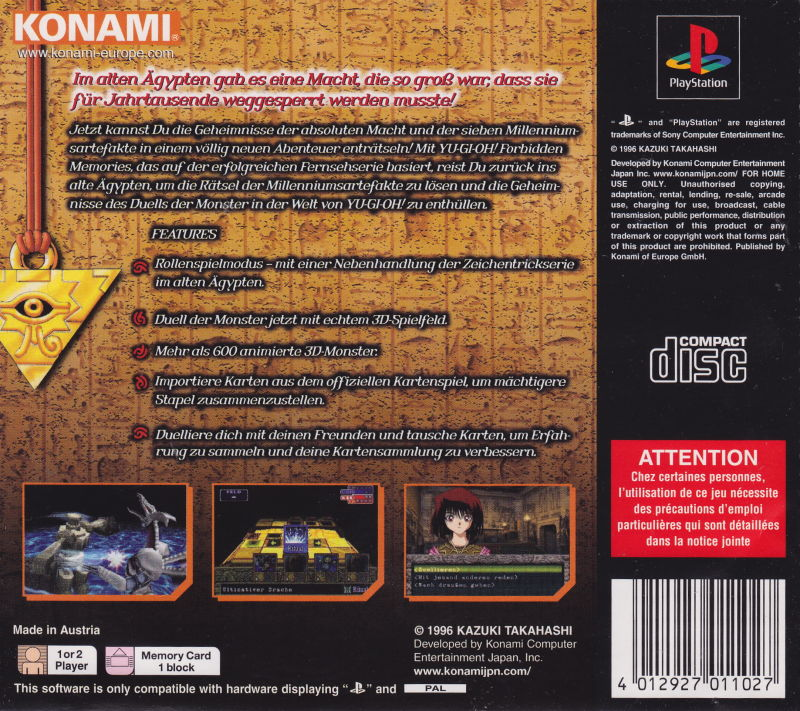 Yu-Gi-Oh!: Forbidden Memories PlayStation Back Cover