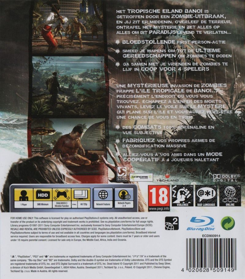 Dead Island PlayStation 3 Back Cover