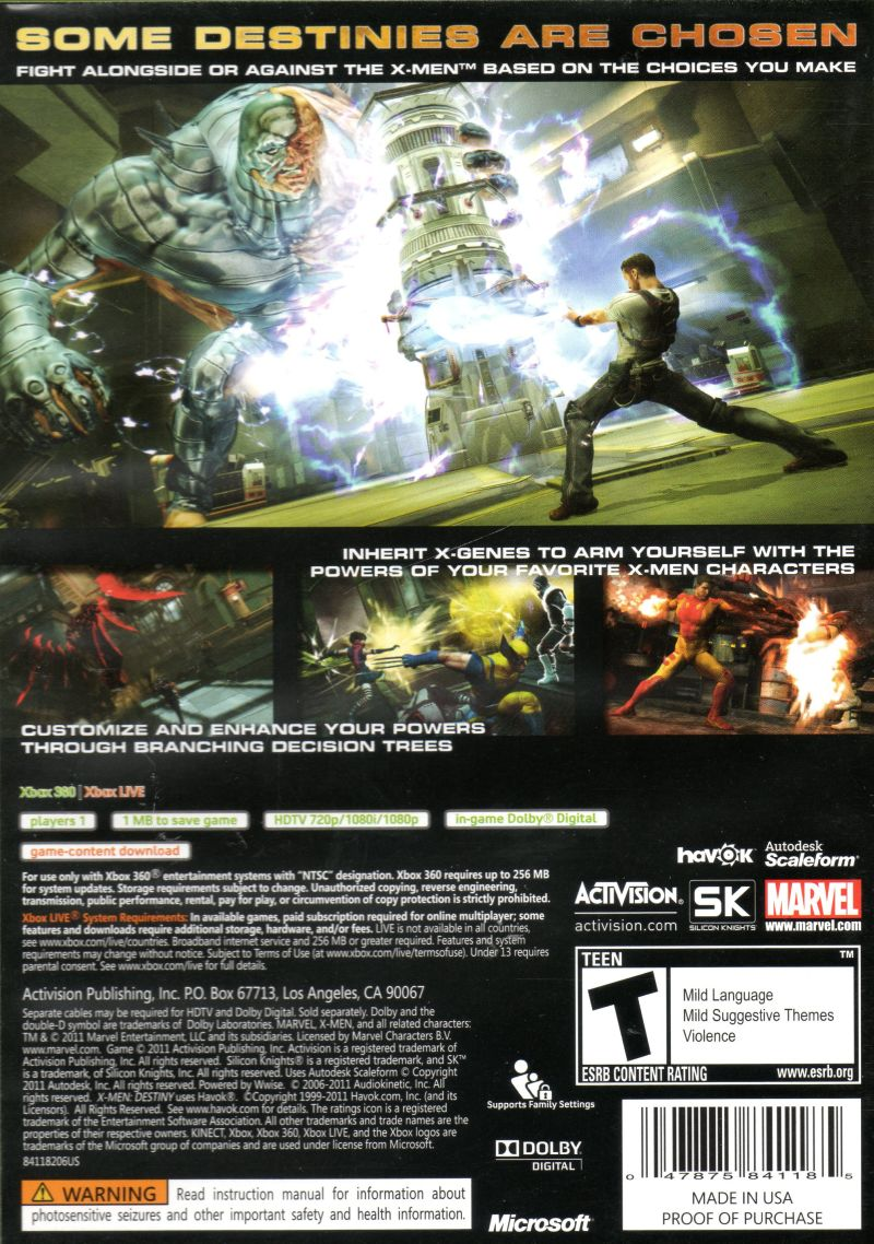 X-Men: Destiny Xbox 360 Back Cover