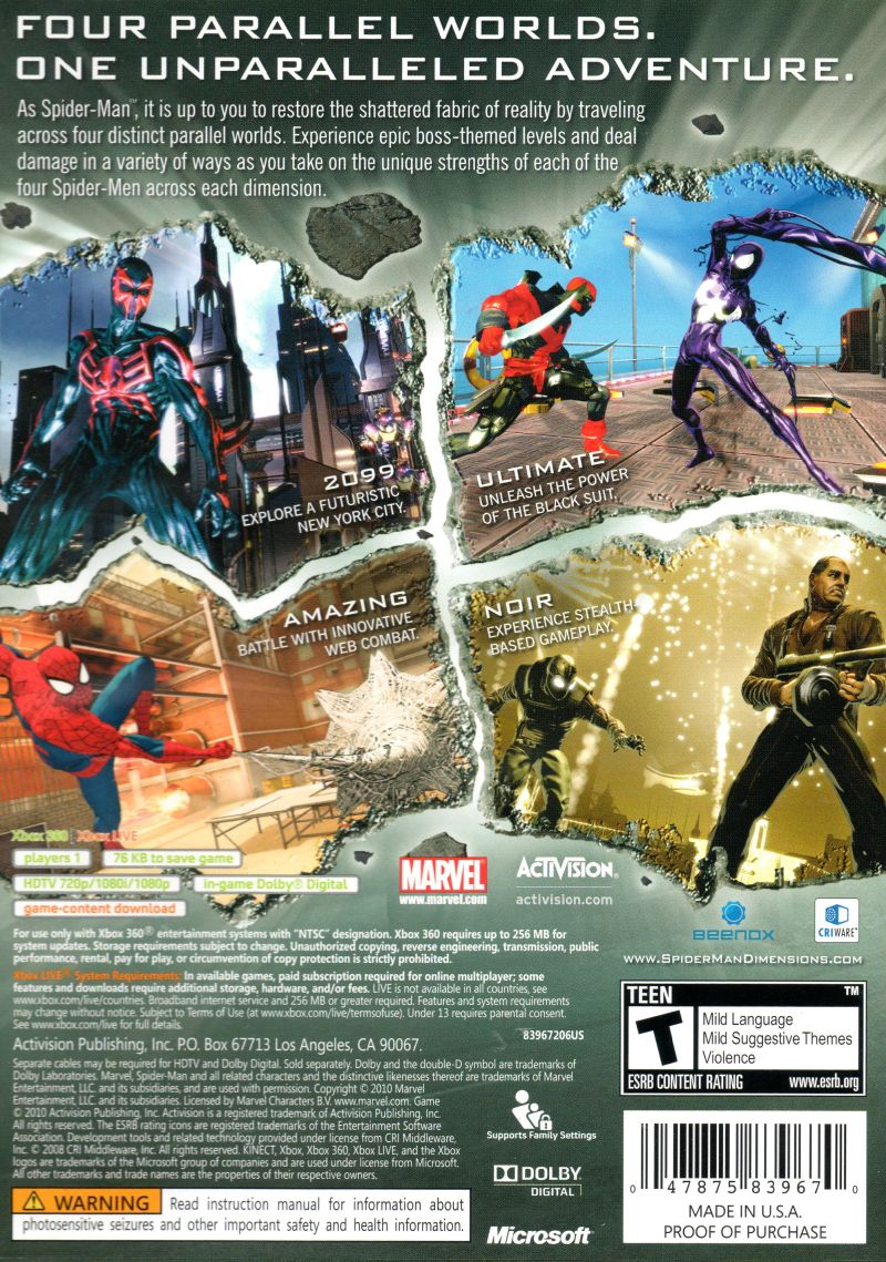 Spider-Man: Shattered Dimensions (2010) PlayStation 3 box ...Xbox 360 Game Cover Dimensions